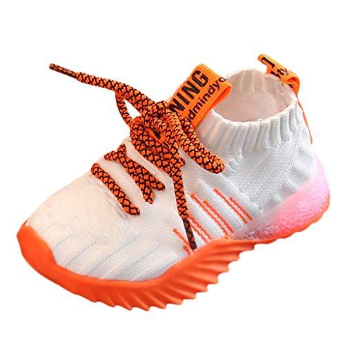 koperras Kinder leichte Schuhe Jungen und Mädchen Bunte leuchtende Schuhe LED-Blitzschuhe Sportschuhe Riemen Luftkissen rutschfeste Mesh atmungsaktive Strickschuhe