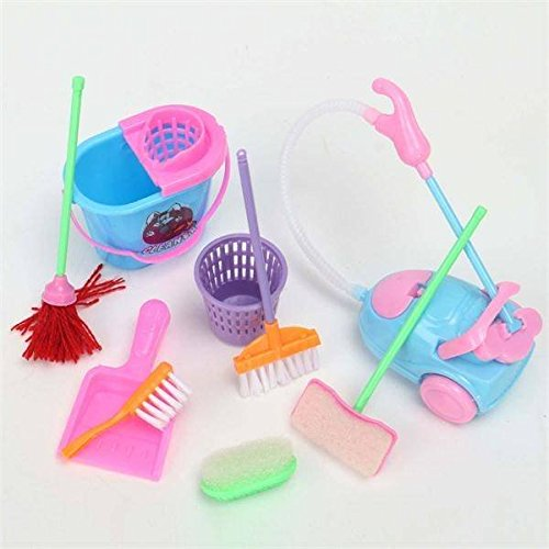365 Saver Saver Mini 9Pcs a Set Barbie Doll Cleaning Tools Furniture Home Princess Baby Plush Cleaner Kit Household Model Toys