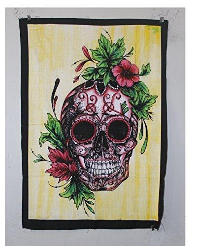 Shubhlaxmifashion Hippie Boho Head of The Human Skull der Menschliche Schädel Wandteppich für Bohemian Poster Ethinc (Vera Bradley-t-shirt)