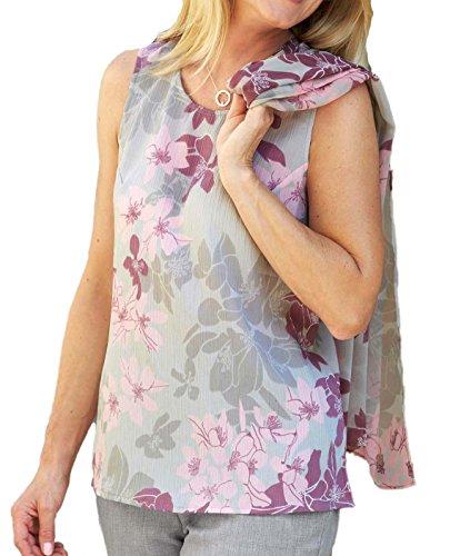 Chemisiers pour femme Motif Gris à fleurs haut pour femme Tailles 10–38 Gris - Gris