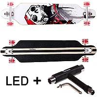 FunTomia® Longboard Skateboard Drop Through Cruiser Komplettboard mit Mach1® High Speed Kugellager T-Tool