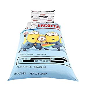 despicable me 39 minon sous housse de couette pour lit simple et taie d 39 oreiller 100 microfibre. Black Bedroom Furniture Sets. Home Design Ideas