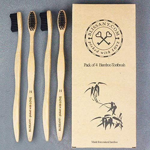 4er Pack Bambus Zahnbürste by BLISSANY® - aus nachhaltigem Bambus-Holz, 100% BPA-frei, vegan, umweltfreundlich, Set bestehend aus 4x Bambus Zahnbürsten, für gesunde und weiße Zähne (4 Stück) (4x hart)
