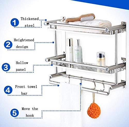 Unbekannt Hardware Wand-Badezimmer-Regal, Badezimmer-Tuch Railsbadroom-Doppelschicht-Hardware-Lagerregal-Küchen-Winkel-Rahmen, Badezimmer-Hardware,als Zeigen,30 cm