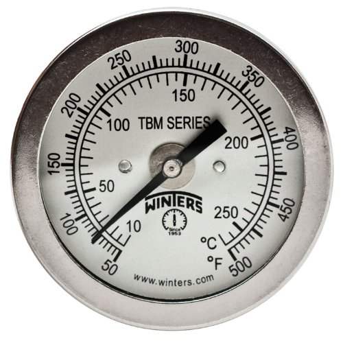 Winters TBM Series Stainless Steel 304 Dual Scale Bi-Metal Thermometer, 2-1/2 Stem, 1/4 NPT Fixed Center Back Mount Connection, 2 Dial, 50-500 F/C Range by Winters
