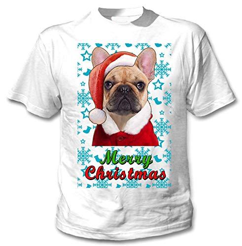 teesquare1st French Bulldog Santa Snow Camiseta Blanca para Hombre de Algodon...