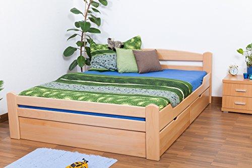 """Doppelbett/Funktionsbett""""Easy Premium Line"""" K4 inkl. 2 Schubladen und 1 Abdeckblende, 160 x 200 cm Buche Vollholz massiv Natur"""