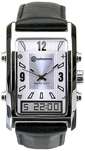Audioline 904388 AW 500 G Elegante Leder-Herrenarmbanduhr schwarz