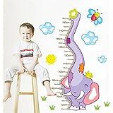 Ascent Decals Height Chart Cartoon Wall Sticker For Kids Room Cute Elephant Blue Vinyl (90 Cm X 60 Cm)