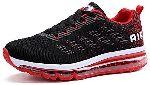 JOOMRA Unisex Herren Damen Sneakers Sportschuhe Bequeme Laufschuhe Schnürer Air Running Shoes Turnschuhe Jungen Mädchen Max Schwarz Rot 43 (Rote Tennis-schuhe Für Mädchen)
