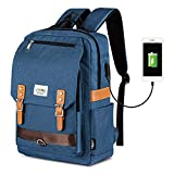 Unisex Vintage Rucksack, College Tasche Passt bis zu 15,6 Zoll Laptop, Mode Casual Rucksack wasserdichte Tagesrucksäcke für Schulreisen mit USB Aufladung (Blau)