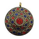 Nuovo splendido ciondolo a Banithani Mosaico di piastrelle Indian Fashion Jewellery Gift For Her, Ottone, colore: Multicolour -1, cod. SP5096A