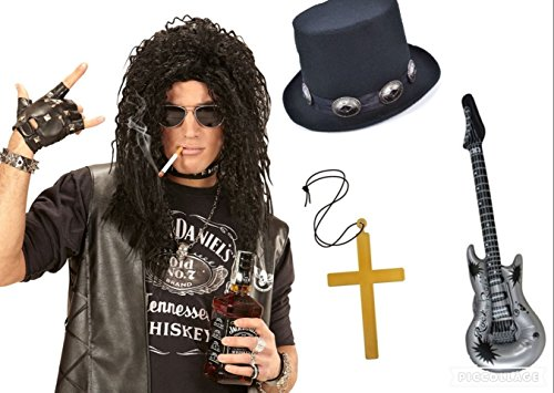 seemeinthat Rock Star Slash Guns N Roses Perücke Top Hat Fancy Kleid Icon Music Rocker aufblasbare Gitarre Elektrische