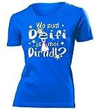 Wo zum deifi is MEI Dirndl 1280 Oktoberfest Bier Wiesn Damen Fun-T-Shirts Blau M