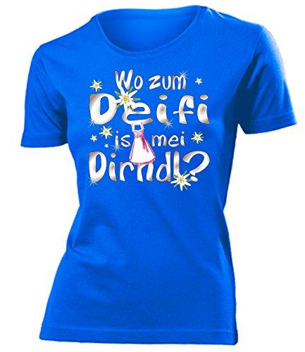 Wo zum deifi is MEI Dirndl 1280 Oktoberfest Outfit Artikel Fasching Kostüm T Shirt verkleidung Wiesn Frauen Damen Mädchen Geschenk Blau XXL