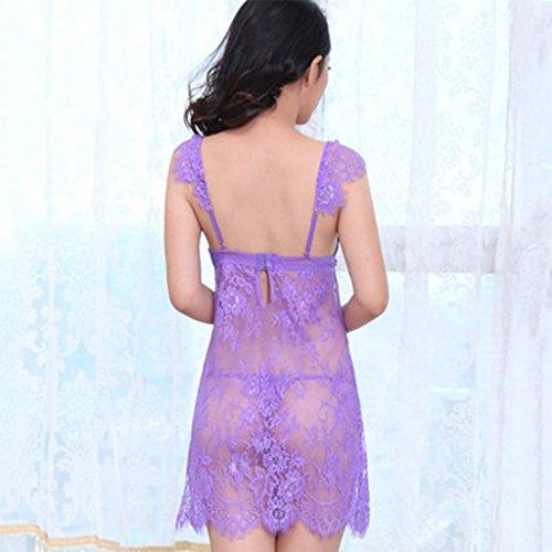 La biancheria intima di chiffon sexy del pigiama del merletto del merletto degli adulti ha regolato la biancheria intima sexy profonda del V del pannello esterno del pigiama dolce con l'anello d'accia Purple