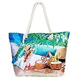WolinTek Große Strandtasche Damen Wasserdicht Schultertasche xxl mit Reißverschluss, Shopper Sommer Tasche,Canvas Strandtasche für Reise, Kaufen, Ausflug