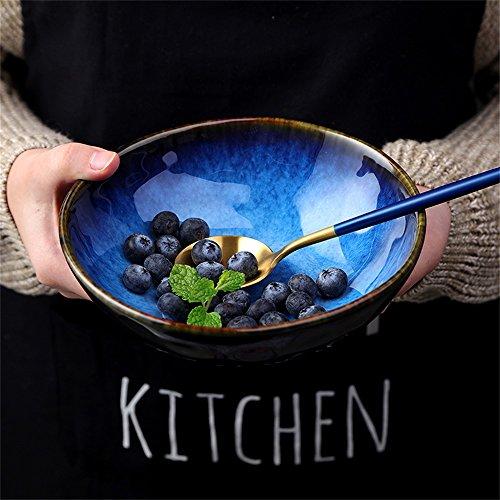 YINUO Grand saladier Bol à mélanger Soupe Ramen Pâtes Nouilles Bol Céréales Mélange à dessert Bol à service créatif Vaisselle en céramique Creative Four à micro-ondes Safe Cat's Eye Bleu