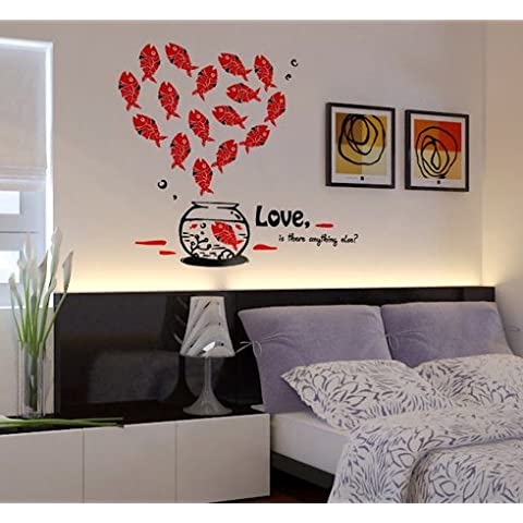 Newsee Decals Love Pesce vinile adesivo parete adesivi rimovibili in vinile Home Decor Nero e Rosso