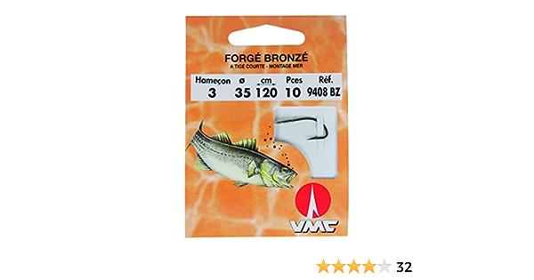 Hameçons montés VMC N°3 0,24mm 50cm Réf:9408BZ forgé bronzé droit poisson blanc