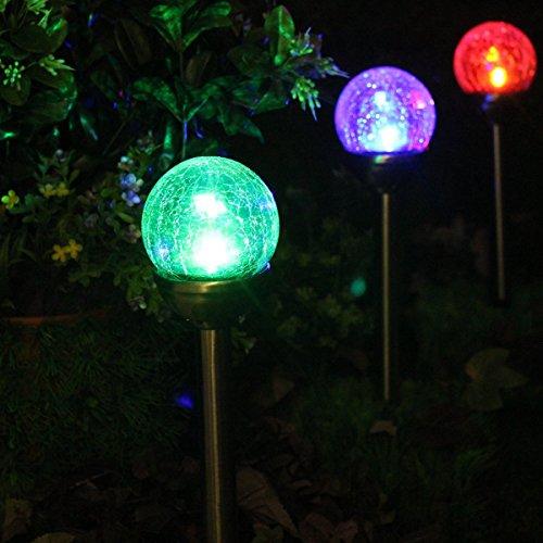 NORDSD Solarleuchten,2er Set Edelstahl LED Farbwechsel Solar Crackle Glaskugel Licht mit Erdspieß