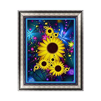 Kingko® 5D DIY Diamond Painting Full Square Drill Shiny Sunflower Full Rhinestone Embroidery for Wall Decoration (30x40cm)