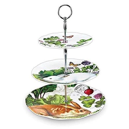 Michel Design Works 3-Tier-verstellbar Buffet oder Dessert Ständer, Melamin, Garten Bunny -