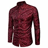 AIMEE7 Crazy Sales Homme Chemises à Manche Longues 2018 Nouveaux Décontracté Chemises Coton Fermeture Boutonnée Élégant Chemises Business à Slim Fit Mode Shirt Casual Hauts (Vin Rouge, L)