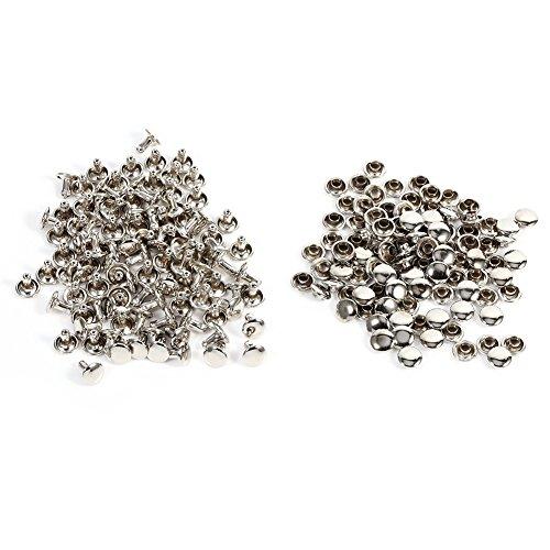 100 Satz Doppel Cap Niet Für Leder Handwerk Reparaturen Dekoration, Doppel Cap Rivet Rohr Metallbolzen Kit 8 × 8mm für DIY, Tasche, Schuhe Reparaturen(Silber) -
