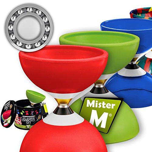 Mister M ✓ Das Ultimative Kugellager Diabolo Set ✓ Kugellager Diabolo ✓Alu Stöcke ✓Online Lern-Video in Einer Geschenkbox