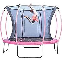 Plum® 305cm Colours Springsafe® Trampolin mit Sicherheitsnetz - Flamingo Pink/Tropic Türkis [REV][PVC]