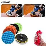 Lorcoo Schwamm & Woolen Polierschwamm Polierpad Set, 8pcs 180mm (7 inches) Auto Poliermaschine und Puffer Wachs Set
