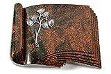 MEMORUM Grabmale Grabbuch, Grabplatte, Grabstein, Grabkissen, Urnengrabstein, Liegegrabstein Modell Prestige 40 x 30 x 8-9 cm Aruba-Granit, Poliert inkl. Gravur (Aluminium-Ornament Gingko 1)