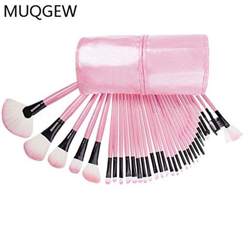 Honestyi Kit de pinceau de maquillage cosmétique 32pcs Supérieur doux ROSE Housse de sac de poche (rose)