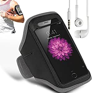 N+ INDIA LENOVO A6010 Adjustable Armband Gym Running Jogging Sports Case Cover Holder with free earphone with mic Gray