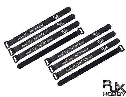 8 PAKET 300mm X 20mm Black RJXHOBBY Rutschfeste Lipo Batterie Straps Kameragurte Elektronik Straps für FPV RC Quad Flugzeug Boot Auto