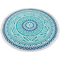 Toallas de playa, Sannysis Indian Mandala Roundie Beach Throw Tapestry Hippy Table Cloth Yoga Mat (B)