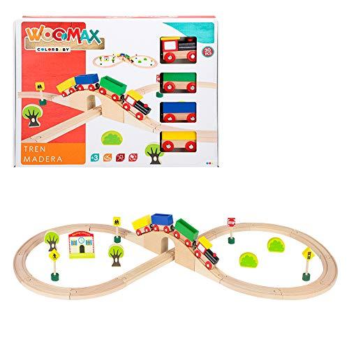 WOOMAX-Tren de madera y vías 30 piezas