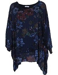 Gracious Girl Frauen Italienische Baumwolle Verblasst oder Multi Floral Batwing Damen Tunika Top Plus Größen