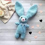 Il Coniglietto Pupazzo Neonato Maschio 6-12 mesi colore Azzurro Blu Cielo 24 cm Fatto a Maglia Artigianale Reg