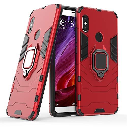 DESCHE für Xiaomi Redmi Note 5 Pro hülle, Ringhalterung hülle + Bildschirmschutz, kompatibel mit magnetischer Autohalterung (Außer Auto-Magnetrahmen) - Rote