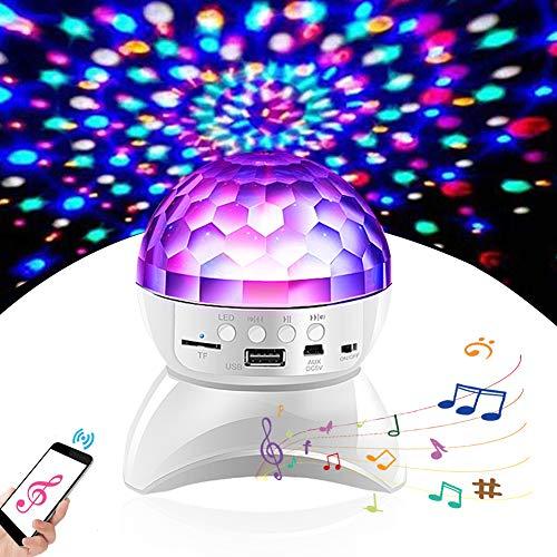 LED Discokugel, Danolt Automatische drehende Beleuchtung Discokugel mit lautsprecher, USB Discolampe Musik Party Licht für Kinder Zimmer Familie versammelt Geburtstags-Party