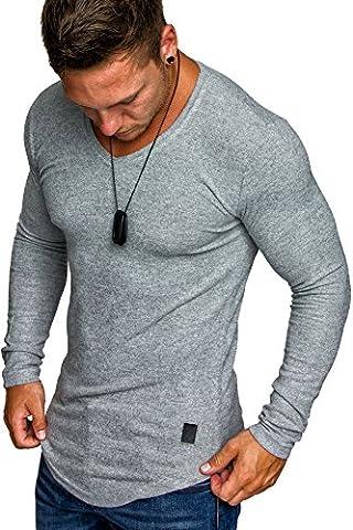 Amaci&Sons Herren Oversize Basic Pullover Melange Sweatshirt V-Neck Fein-Strick Hoodie 6054 Grau Melange XXL