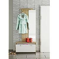 LIQUIDATODO ® - Recibidor vestidor con zapatero de 87 cm moderno y barato en blanco y roble
