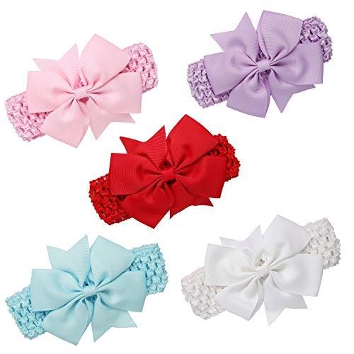 Girl's Headbands, GoFriend 5-Piece Multicolor Hair Hoops Toddler Kids Turban Headband Hair band Head wrap Headwear