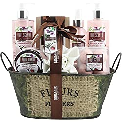 BRUBAKER Cosmetics - Coffret de bain & douche - Noix de coco/Fraise - 11 Pièces - Bassine vintage décorative - Idée cadeau