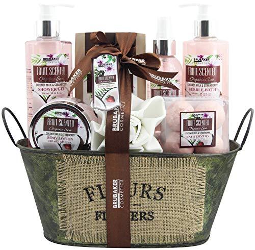 BRUBAKER Cosmetics Bade- und Dusch Set Kokosnuss & Erdbeer Duft - 11-teiliges Geschenkset in Vintage Wanne -