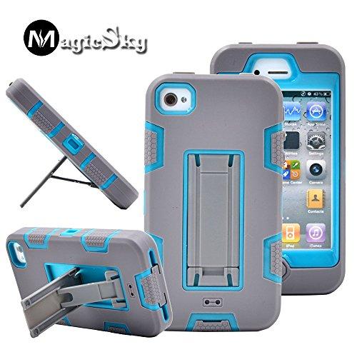 magicsky Kunststoff + Silikon Tuff Dual Layer Hybrid Schutzhülle für Apple iPhone 44S 4G-1Pack-Retail Verpackung Iphone Sky Blue Skin