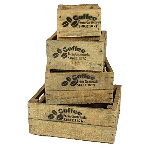 haus-garten-versand Coffee Holzkiste, 4-er Set, klein, Kaffeekiste Kolonial, Vintage Design