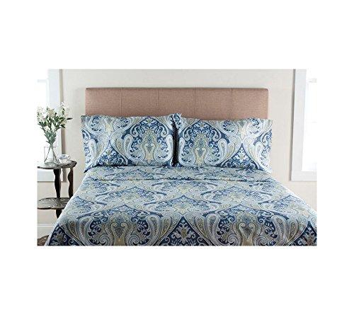 Elite Home Produkte Crystal Palace 300-thread Zählen Druckbogen Sets, Baumwolle, blau, King Sheet Set -